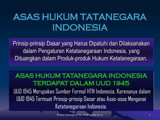 ASAS HUKUM TATANEGARA INDONESIA