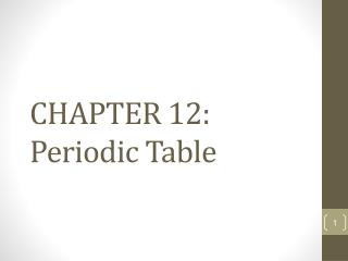 CHAPTER 12: Periodic Table