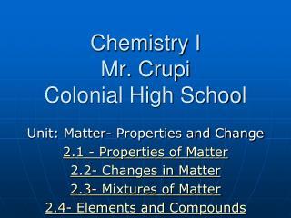 Chemistry I  Mr.  Crupi Colonial High School