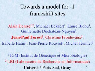 Towards a model for -1 frameshift sites