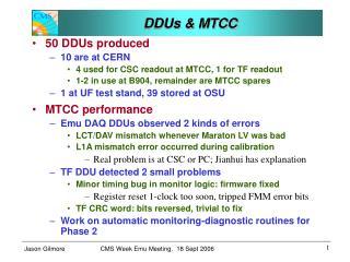 DDUs & MTCC