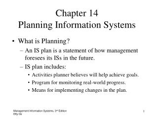 What is Planning An IS plan is a statement of how management foresees its ISs in the future. IS plan includes: Activitie