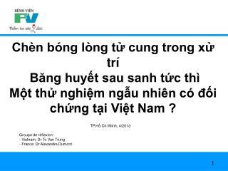 TP.H ồ  Ch í  Minh, 4/2013 Groupe de réflexion: Vietnam: Dr To Van Trung