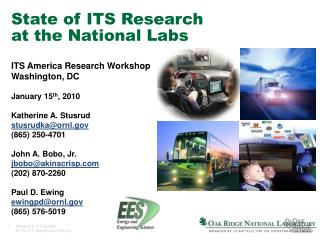 State of ITS Research at the National Labs