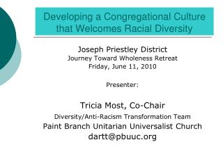Developing a Congregational Culture that Welcomes Racial Diversity