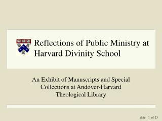 Reflections of Public Ministry at Harvard Divinity School