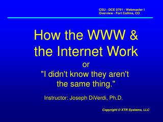 How the WWW & the Internet Work or