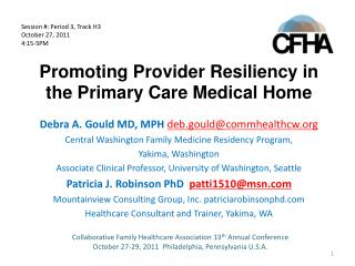 Promoting Provider Resiliency in the Primary Care Medical Home
