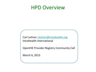 HPD Overview