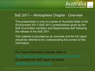 SoE 2011 � Atmosphere Chapter - Overview