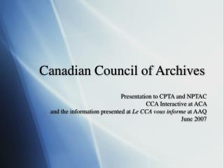 Canadian Council of Archives