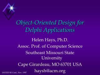 Object-Oriented Design for Delphi Applications