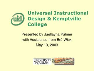 Universal Instructional Design & Kemptville College