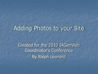 Adding Photos to your Site