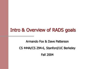 Intro & Overview of RADS goals