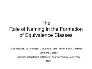 The  Role of Naming in the Formation of Equivalence Classes
