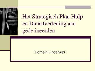 Het Strategisch Plan Hulp-en Dienstverlening aan gedetineerden