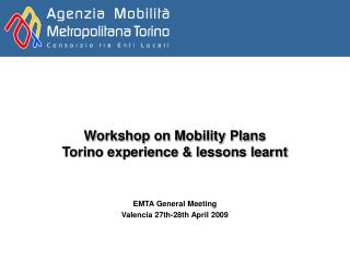 Workshop on Mobility Plans Torino experience & lessons learnt