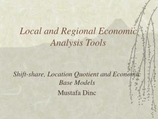 Local and Regional Economic Analysis Tools
