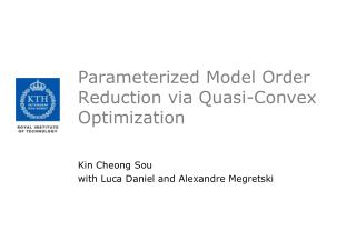 Parameterized Model Order Reduction via Quasi-Convex Optimization
