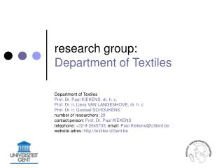 research group:  Department of Textiles