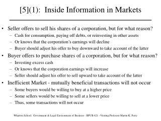 [5]1:  Inside Information in Markets