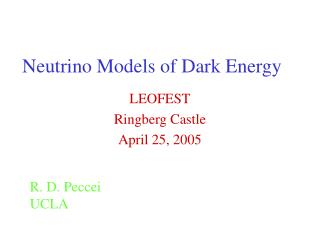 Neutrino Models of Dark Energy