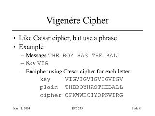 Vigen�re Cipher