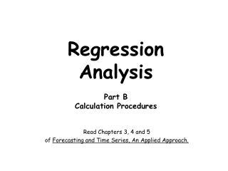 Regression Analysis Part B Calculation Procedures