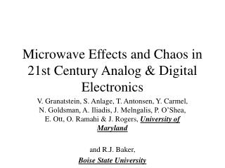 Microwave Effects and Chaos in 21st Century Analog & Digital Electronics