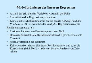 Modellpr�missen der linearen Regression