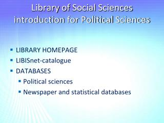 Library  of  Social  Sciences introduction for Political  Sciences