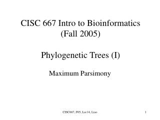 CISC 667 Intro to Bioinformatics (Fall 2005) Phylogenetic Trees (I)