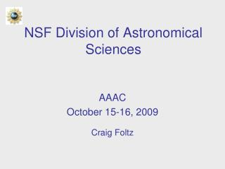 NSF Division of Astronomical Sciences