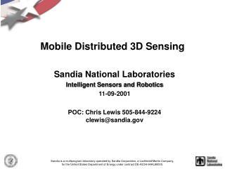 Mobile Distributed 3D Sensing