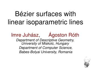 Bézier surfaces with linear isoparametric lines