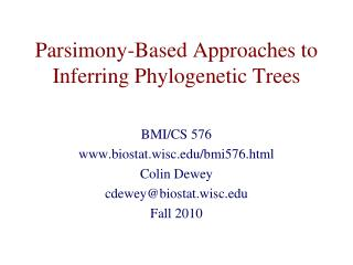 Parsimony-Based Approaches to Inferring Phylogenetic Trees