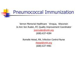 Pneumococcal Immunization