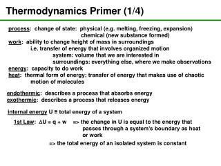 Thermodynamics Primer (1/4)