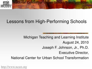 Lessons from High-Performing Schools