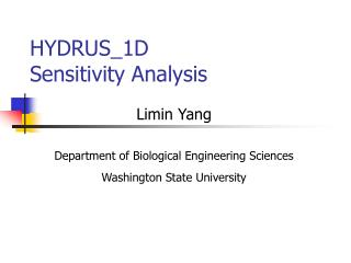 HYDRUS_1D  Sensitivity Analysis