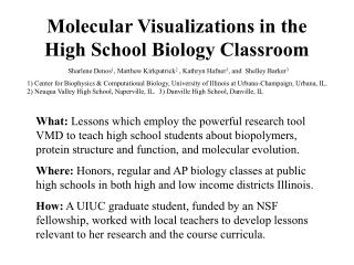 Molecular Visualizations in the High School Biology Classroom