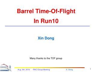 Barrel Time-Of-Flight In Run10