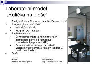 "Laboratorní model  ""Kulička na ploše"""