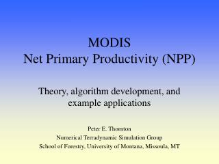MODIS Net Primary Productivity (NPP)