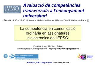 La competència en comunicació ordinària en assignatures d'electrònica de l'EPSC