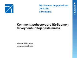 Kommenttipuheenvuoro Itä-Suomen terveydenhuoltojärjestelmästä