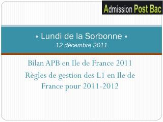 «Lundi de la Sorbonne» 12 décembre 2011