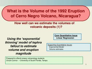 Using the 'exponential thinning' model of tephra fallout to estimate volume and eruption magnitude