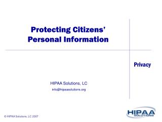 Protecting Citizens  Personal Information